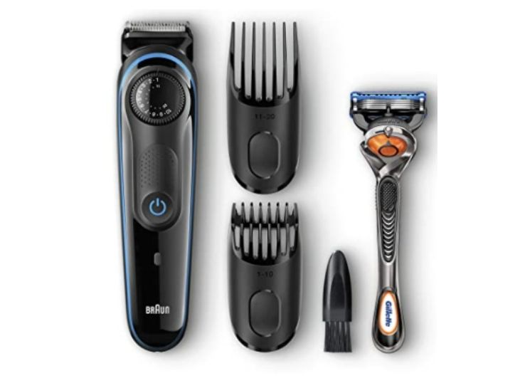 Braun BT3040 Beard Trimmer for Men, Cordless Hair Clipper, Black/Blue, with Gillette ProGlide Razor