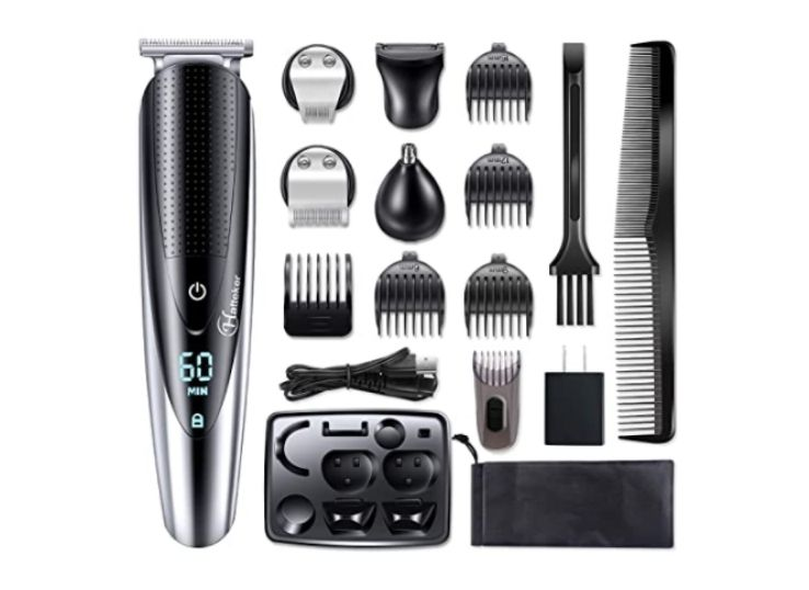 Hatteker Men's Hair Clipper Beard Trimmer Grooming kit Hair trimmer Mustache trimmer Body groomer Trimmer for Nose Ear Facial Hair Cordless Waterproof 5 In 1